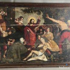 Arte: GRAN PINTURA, ESCUELA FLAMENCA DE FINALES DEL SIGLO XVI. LA RESURRECCIÓN DE LÁZARO. TABLA. Lote 288552693