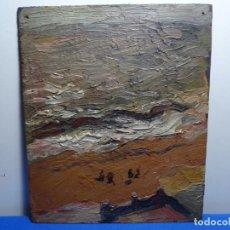 Arte: OLEO SOBRE TABLEX ANONIMO. ESCUELA CATALANA DE BUEN TRAZO. PLAYA. CIRCULO RICARD URGELL.. Lote 288569673