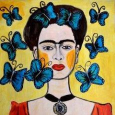 Arte: PINTURA, RETRATO CON MARIPOSAS DE FRIDA KAHLO, ORIGINAL, FIRMADO.. Lote 288577373