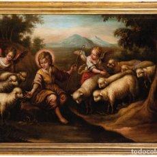 Arte: ÓLEO SOBRE LIENZO ESCUELA ANDALUZA SIGLO XVIII SAN JUAN BAUTISTA NIÑO. Lote 288614008