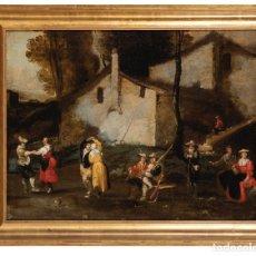 Arte: OLEO SOBRE LIENZO ESCUELA FLAMENCA SIGLO XVII BAILE CAMPESTRE. Lote 288620843