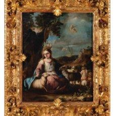 Arte: ÓLEO SOBRE LIENZO ATRIBUIDO A JUAN DE ESPINAL SEVILLA 1714 - 1783 DIVINA PASTORA. Lote 288626458
