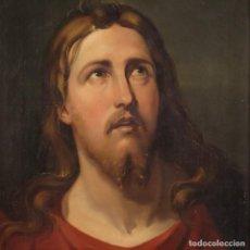 Arte: PINTURA RELIGIOSA ITALIANA ANTIGUA DEL ROSTRO DE CRISTO DEL SIGLO XIX.. Lote 288656653
