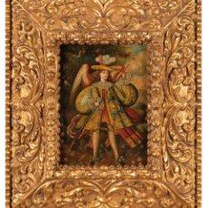 Arte: ÓLEO SOBRE LIENZO ESCUELA CUZQUEÑA SIGUIENDO MODELOS DEL XVII ARCÁNGEL ARCABUCERO IMPORTANTE MARCO. Lote 288664658