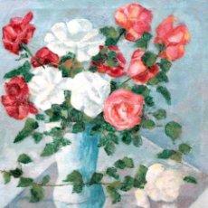 Arte: FIRMADO DE LA VEGA. OLEO SOBRE TELA. JARRON CON ROSAS. 81 X 65 CM.. Lote 288731638