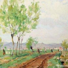 Arte: TOMAS PEREZ MARTINEZ -THOMAS- (1911-1992) OLEO SOBRE TELA. PAISAJE CON FIGURAS. Lote 288888738