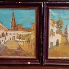 Arte: PAREJA DE OLEOS, PATIO DE BANDERAS Y PUERTA AL CALLEJÓN DEL AGUA, SEVILLA, 33X28 CM, AÑOS 50. Lote 288923818