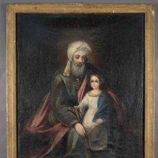 Arte: ÓLEO SOBRE LIENZO ANCIANO CON NIÑO SIGLO XVIII. Lote 289009893