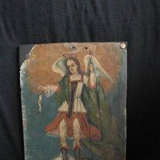 Arte: PINTURA COLONIAL DEL SIGLO XIX, ÓLEO SOBRE METAL. Lote 289432373