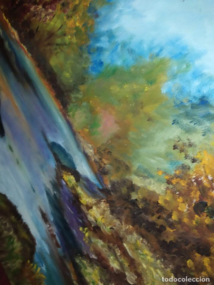 Arte: ANTIGUO OLEO SOBRE LIENZO PAISAJE BOSQUE LAGO ÁRBOLES FIRMADO R. OLIVER BASTIDOR ROCA RODILLA - Foto 3 - 289591938