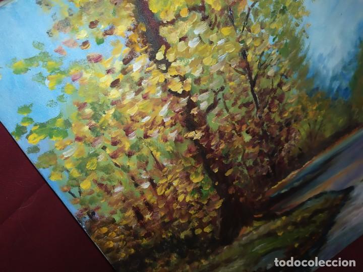 Arte: ANTIGUO OLEO SOBRE LIENZO PAISAJE BOSQUE LAGO ÁRBOLES FIRMADO R. OLIVER BASTIDOR ROCA RODILLA - Foto 17 - 289591938