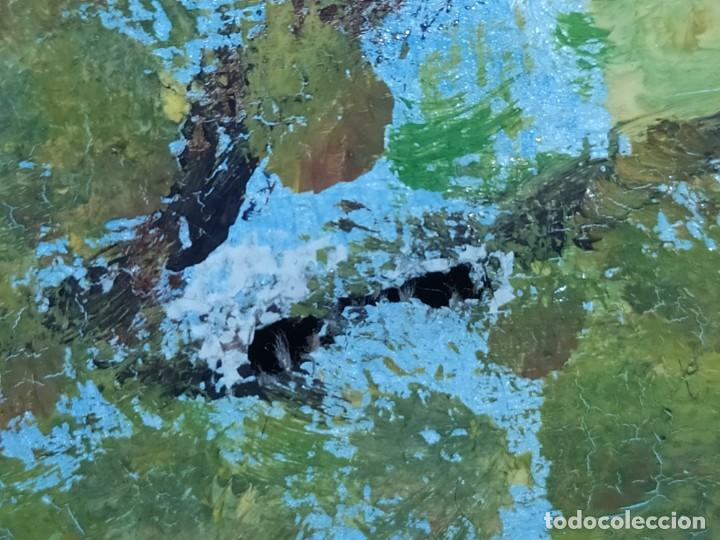 Arte: ANTIGUO OLEO SOBRE LIENZO PAISAJE BOSQUE LAGO ÁRBOLES FIRMADO R. OLIVER BASTIDOR ROCA RODILLA - Foto 18 - 289591938