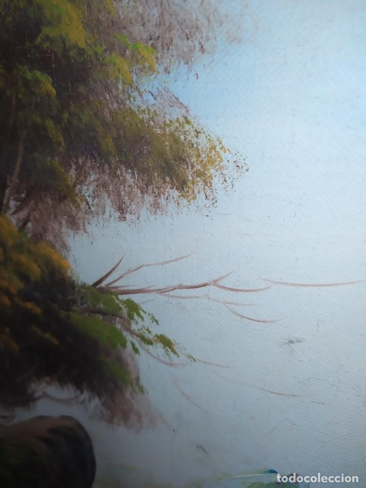 Arte: OLEO LIENZO FIRMA ILEGIBLE PAISAJE CIERVO MONTAÑA RESTAURAR ABOMBADO VINTAGE AGRADECE INFORMACIÓN - Foto 7 - 289612273