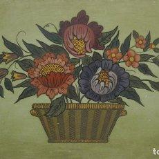 Arte: COMPOSICION FLORAL. MADERA PINTADA A MANO. 22 X 38 CM. Lote 289619568