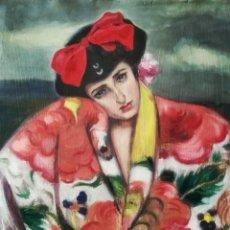 Arte: EXTRAORDINARIO ÓLEO SOBRE LIENZO MUJER CON MANTÓN DE MANILA Y FIRMADO ILEGIBLE. Lote 289681093