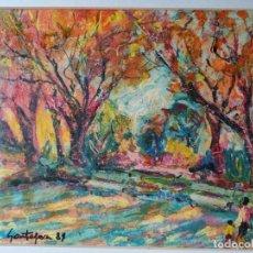 Arte: LLUÍS SANTAPAU EGEA (VINARÒS 1906 -1993) TECNICA MIXTA SOBRE TABLEX PARQUE DE LA CIUDADELA. Lote 289722573