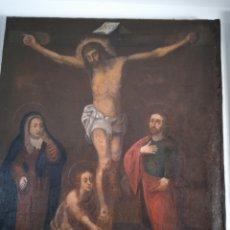 Arte: LIENZO CRUCIFIXIÓN SIGLO XVIII. Lote 289758888