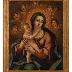 Arte: ÓLEO LIENZO VIRGEN CON NIÑO ESCUELA COLONIAL SIGLO XVIII ENMARCADO. Lote 289828338