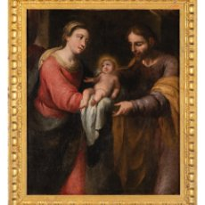 Arte: ÓLEO LIENZO SAGRADA FAMILIA ATRIBUIDO A FRANCISCO MENESES OSORIO SEVILLA 1640 - 1721. Lote 289829028
