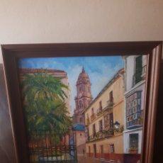 Arte: CALLE CISTER MÁLAGA, ÓLEO DE LA RUBIA 1991. Lote 290249683