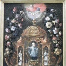 Arte: NIÑO JESÚS CON SAN LORENZO Y SAN ESTEBAN, ÓLEO SIGLO XVII-XVIII. Lote 290592873