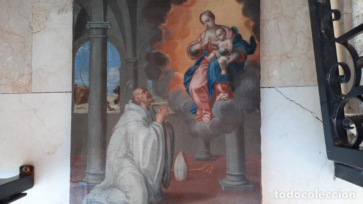 Arte: oleo sobre lienzo San Bernardo con la virgen siglo xvii,ref. museo diocesano Santillana del Mar - Foto 2 - 291155388