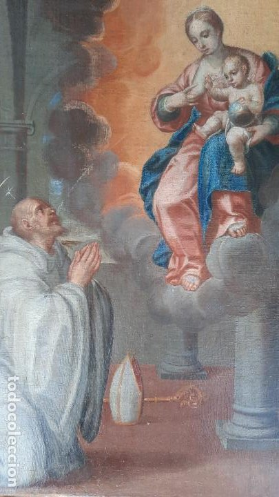 OLEO SOBRE LIENZO SAN BERNARDO CON LA VIRGEN SIGLO XVII,REF. MUSEO DIOCESANO SANTILLANA DEL MAR (Arte - Pintura - Pintura al Óleo Antigua siglo XVII)