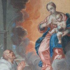Arte: OLEO SOBRE LIENZO SAN BERNARDO CON LA VIRGEN SIGLO XVII,REF. MUSEO DIOCESANO SANTILLANA DEL MAR. Lote 291155388