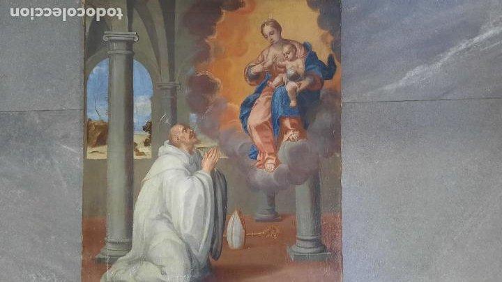Arte: oleo sobre lienzo San Bernardo con la virgen siglo xvii,ref. museo diocesano Santillana del Mar - Foto 5 - 291155388