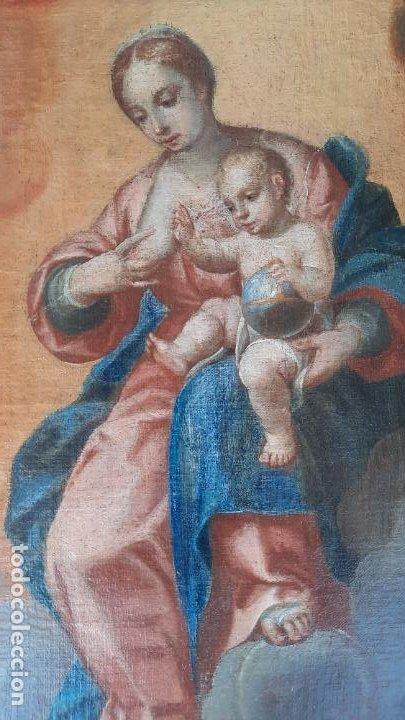 Arte: oleo sobre lienzo San Bernardo con la virgen siglo xvii,ref. museo diocesano Santillana del Mar - Foto 8 - 291155388