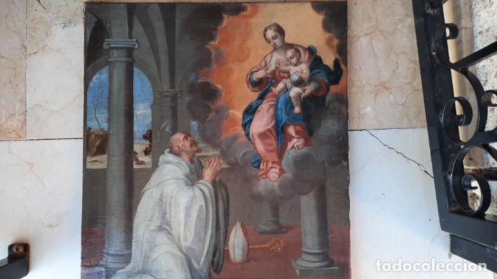 Arte: oleo sobre lienzo San Bernardo con la virgen siglo xvii,ref. museo diocesano Santillana del Mar - Foto 9 - 291155388