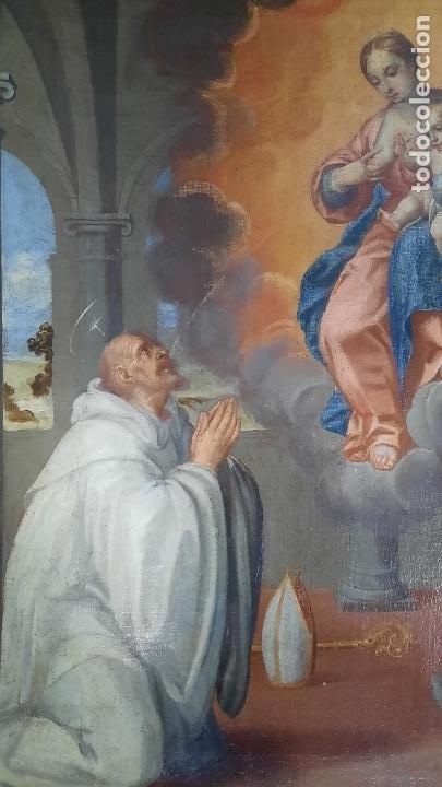 Arte: oleo sobre lienzo San Bernardo con la virgen siglo xvii,ref. museo diocesano Santillana del Mar - Foto 12 - 291155388
