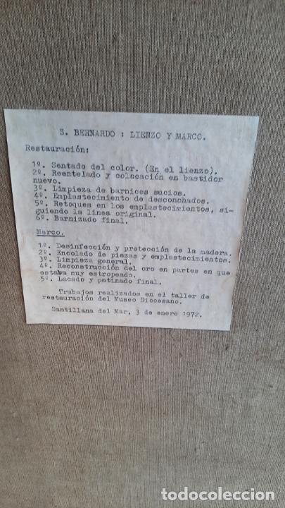 Arte: oleo sobre lienzo San Bernardo con la virgen siglo xvii,ref. museo diocesano Santillana del Mar - Foto 14 - 291155388