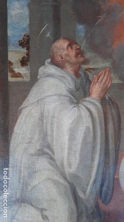 Arte: oleo sobre lienzo San Bernardo con la virgen siglo xvii,ref. museo diocesano Santillana del Mar - Foto 15 - 291155388