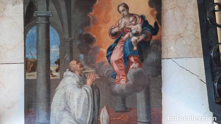 Arte: oleo sobre lienzo San Bernardo con la virgen siglo xvii,ref. museo diocesano Santillana del Mar - Foto 3 - 291155388