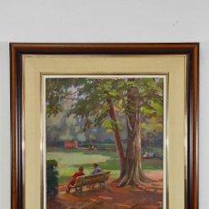 Arte: XAVIER VIÑOLAS (BONMATI 1915-OLOT 2002) - ÓLEO SOBRE TELA - EL PARC NOU. Lote 291230198