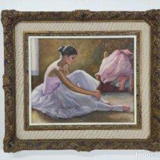 Arte: MIQUEL BOSCH PLA (OLOT 1918- 1993) - ÓLEO SOBRE TELA - BAILARINA. Lote 291232193