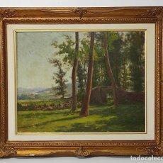 Arte: MELCIOR DOMENGE (OLOT 1871 - 1939) - PAISAJE - ÓLEO SOBRE TELA - SELLO CERTIFICADO BARRACHINA. Lote 291488928