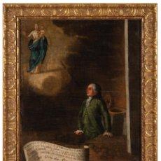Arte: ÓLEO LIENZO EXVOTO A SAN MIGUEL DE LOS NAVARROS ESCUELA ESPAÑOLA SIGLO XVIII 1768. Lote 291838638