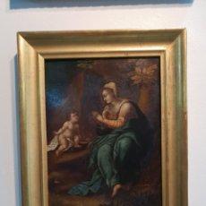 Arte: MAGNIFICO OLEO SOBRE COBRE DE LA VIRGEN MARIA CON EL NIÑO JESUS. S. XVIII. 32 X 25 CM CON MARCO. Lote 291842793