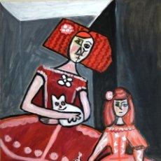Arte: PINTURA DE MENINAS CON GATO, MENINA, ORIGINAL. FIRMADO POR SU AUTORA.. Lote 292089433