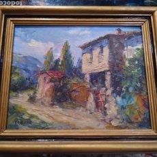 Arte: CUADRO KOSCAYÁ PINTURA AL ÓLEO SOBRE TABLA. MARCO DORADO Y NEGRO.. Lote 292220898