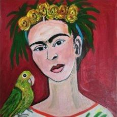 Arte: PINTURA DE FRIDA KAHLO, ORIGINAL, FIRMADO POR SU AUTORA.. Lote 292258878