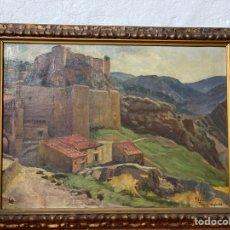Arte: ANTIGUO Y ESPECTACULAR PAISAJE AL ÓLEO FIRMADO Y FECHADO LINARES DE ARAGÓN 1912. Lote 292263788