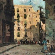 Arte: JOAQUÍN ASENSIO MARINÉ (1890-1961) - CALLE DE BARCELONA 1946 - ÓLEO SOBRE TABLA. Lote 292294373