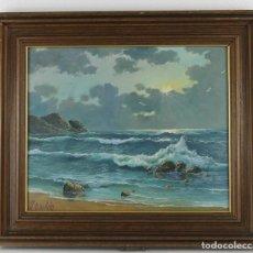 Arte: JESÚS BASTIDA (1936). MARINA ÓLEO SOBRE LIENZO. Lote 292542673