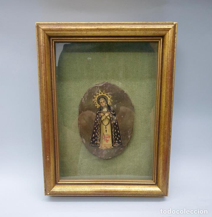 ESCUELA MEXICANA SIGLO XVIII -MEDALLÓN A MODO DE ESCUDO DE MONJA (Arte - Pintura - Pintura al Óleo Antigua siglo XVIII)