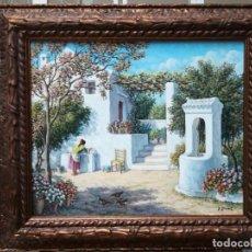 Arte: PATIO CON FLORES Y POZO PINTADO POR ANDRES MEJIDE. Lote 293482103