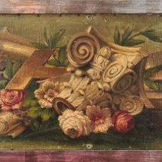 Arte: COMPÒSICION DE CAPITEL Y ROSAS. ANÓNIMO. ÓLEO SOBRE LIENZO. SIGLO XIX.. Lote 293610608