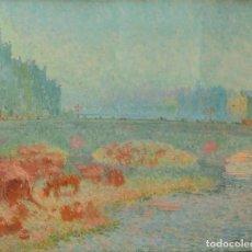 Arte: EL PONT DE PEDRA DE GIRONA. FIRMADO. JOSEP AGUILERA. ÓLEO SOBRE LIENZO. ESPAÑA. CIRCA 1920. Lote 293713798